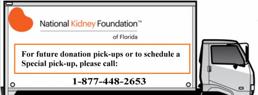 National Kidney Foundation Truck Pickup Service