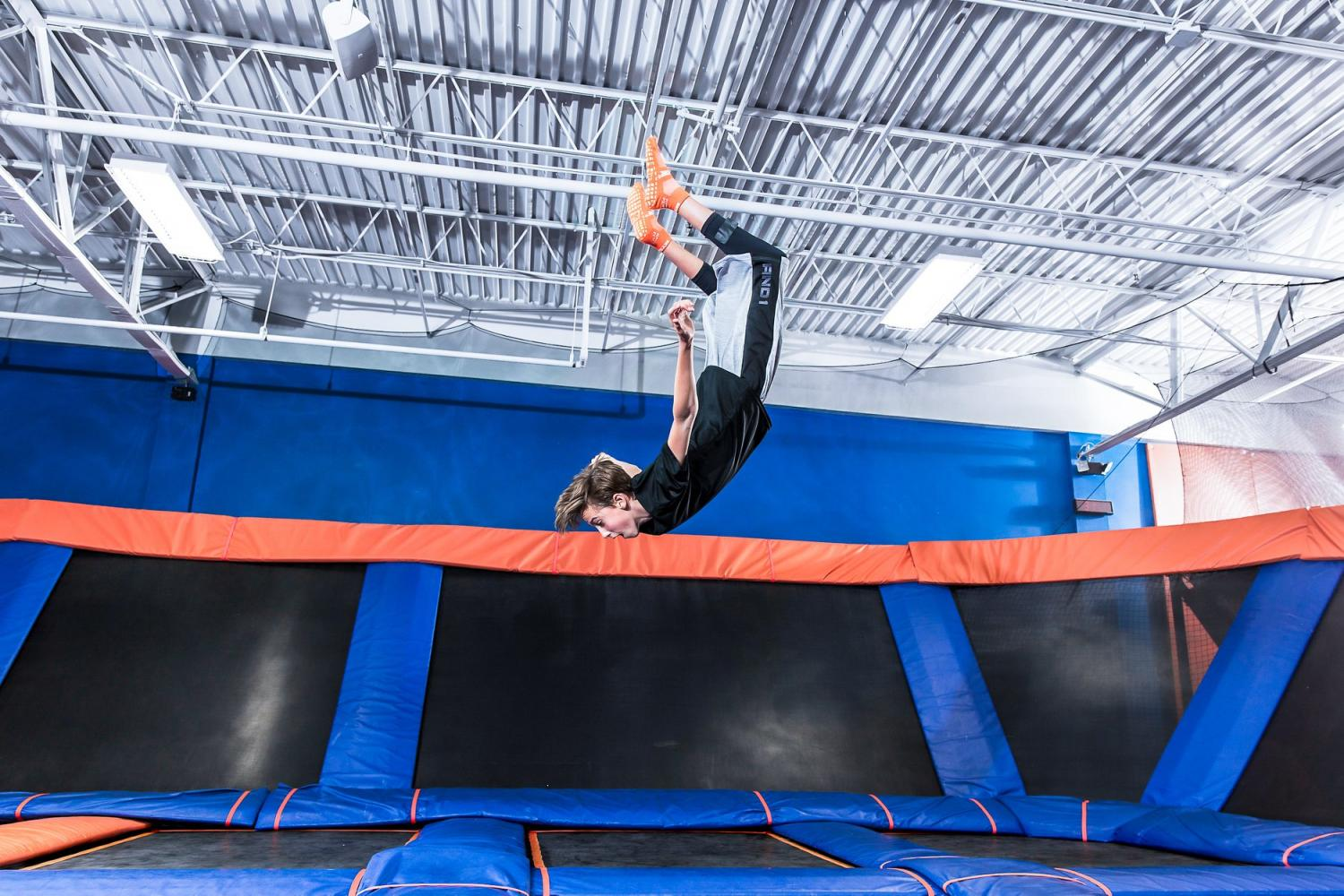 Boy front flips at Sky Zone in Brandon, FL.
