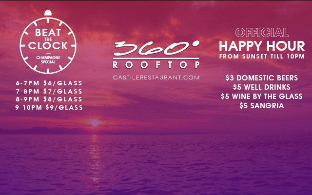 Happy Hour + Beat The Clock at 360 Rooftop