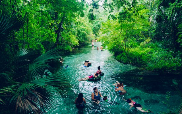 Go Tubing in the Natural Spring at Kelly Park