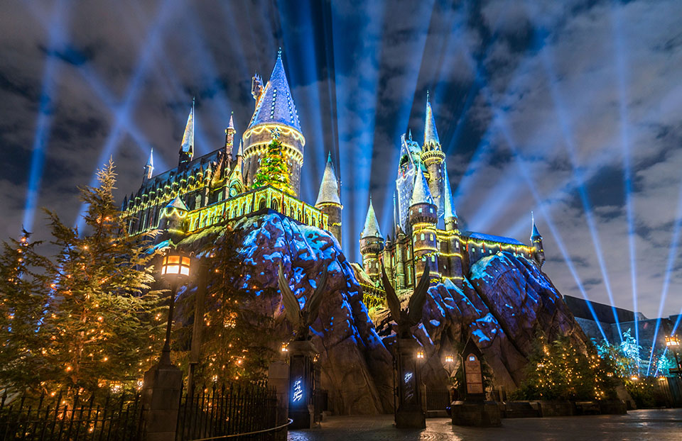 see dazzling christmas lights covering hogwarts and diagon alley this is the perfect gift for the festive harry potter fan in your family