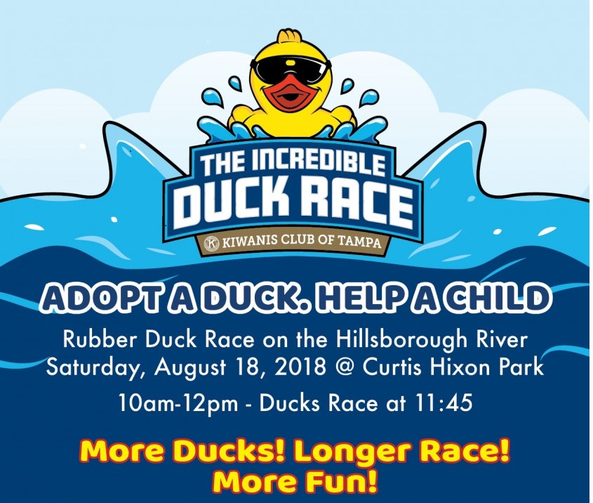 Who Will be a Lucky Duck at the 2018 Annual Kiwanis Tampa Incredible Duck Race?
