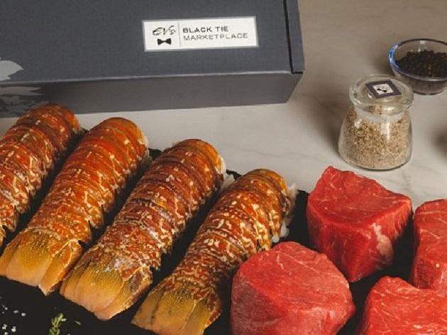 Bring Eddie V's Prime Seafood Black Tie Marketplace Box Home and Enjoy Premium Cuts of Steak & Seafood