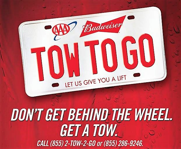 AAA Budweiser FREE Tow To Go Gets You And Car Home Safe