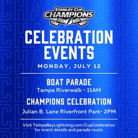 The Stanley Cup Won't Get Tossed but Will Be at the Champions Celebration on Monday for the Tampa Bay Lightning