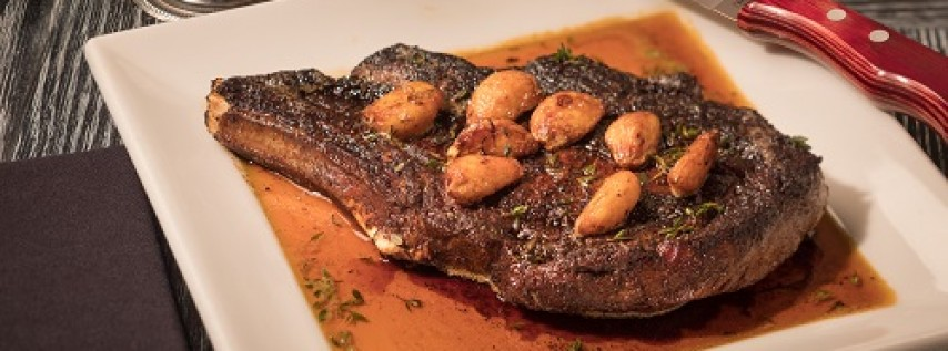 Perry's Steakhouse & Grille 16-ounce Bison Cowboy Chop with a classic chimichurri available all day on Father's Day