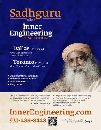 Inner Engineering With Sadhguru In Dallas on Nov 23 - 24