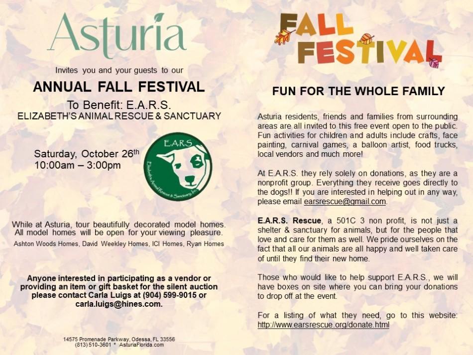 Asturia Annual Fall Festival to Benefit E.A.R.S