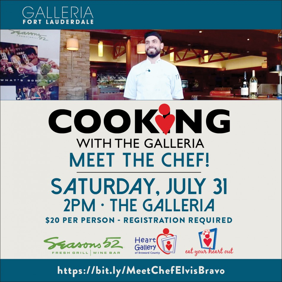Meet Chef Bravo at Cooking with The Galleria Benefiting Heart Gallery