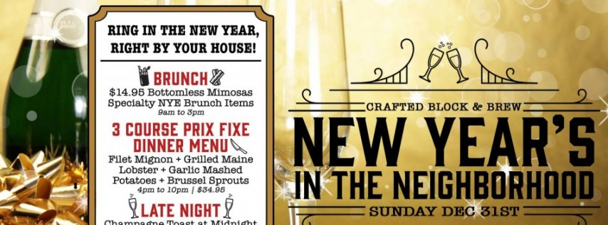 Crafted's New Year's Eve in the Neighborhood - Complimentary Champagne