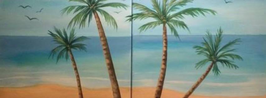 Wine & Canvas Painting Class: Paradise With You - DATE NIGHT
