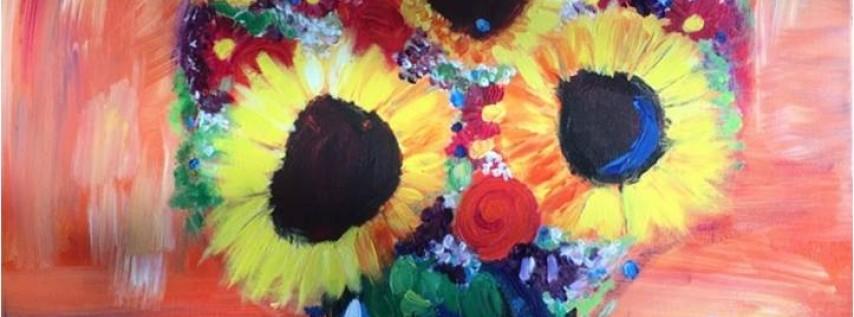 Wine & Canvas Painting Class: Sunflower Bouquet