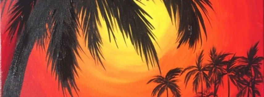 Wine & Canvas Painting Class: Palm Sunset