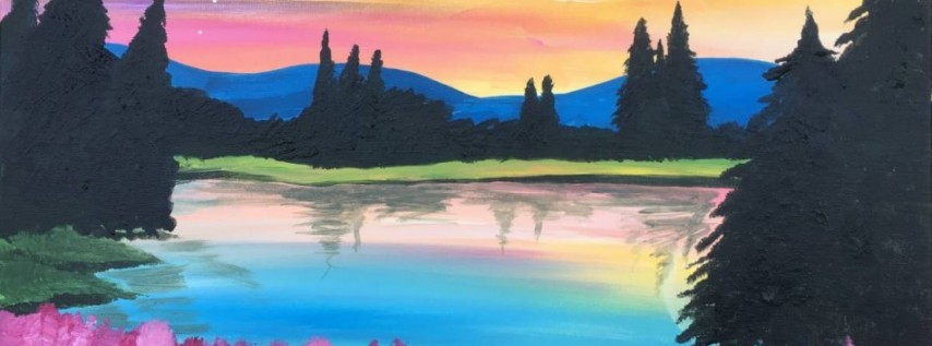Wine & Canvas Painting Class: Moonrise in the Mountains