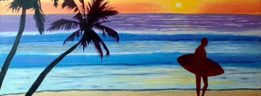 Wine & Canvas Painting Class: Sunset Surfer