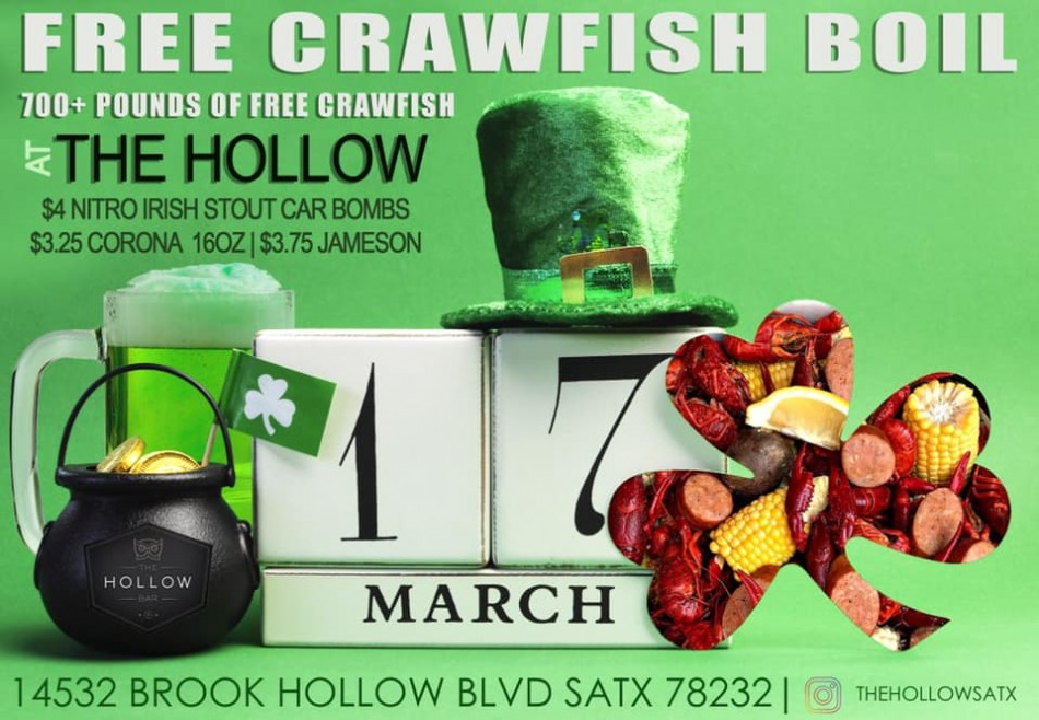 •Fill YOUR Pot of Gold with FREE CRAWFISH on St. Patrick's Day•