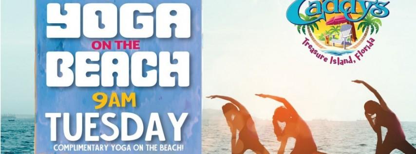 Tuesday Yoga on the Beach at Caddy's Treasure Island 6/15