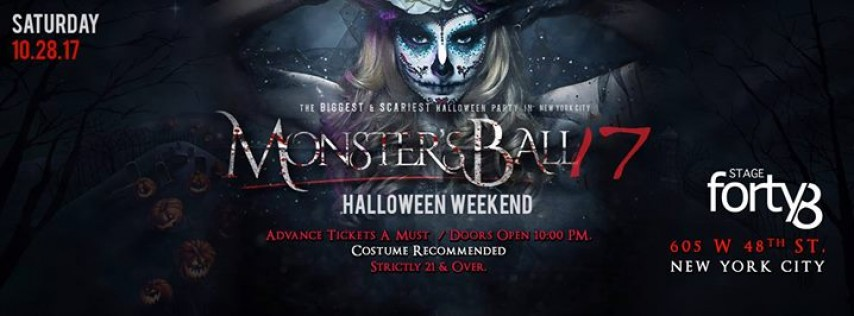 The Monster Ball 2017 - NYC's Biggest Halloween Weekend Party
