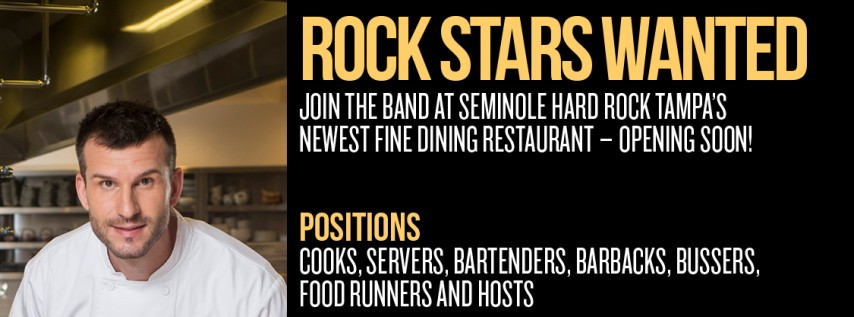 Seminole Hard Rock Tampa Hiring Event - New Fine Dining Restaurant
