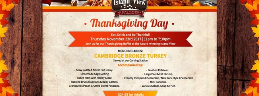 Savory Thanksgiving Meal atop the Island View