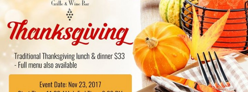 Thanksgiving Lunch & Dinner at Vines