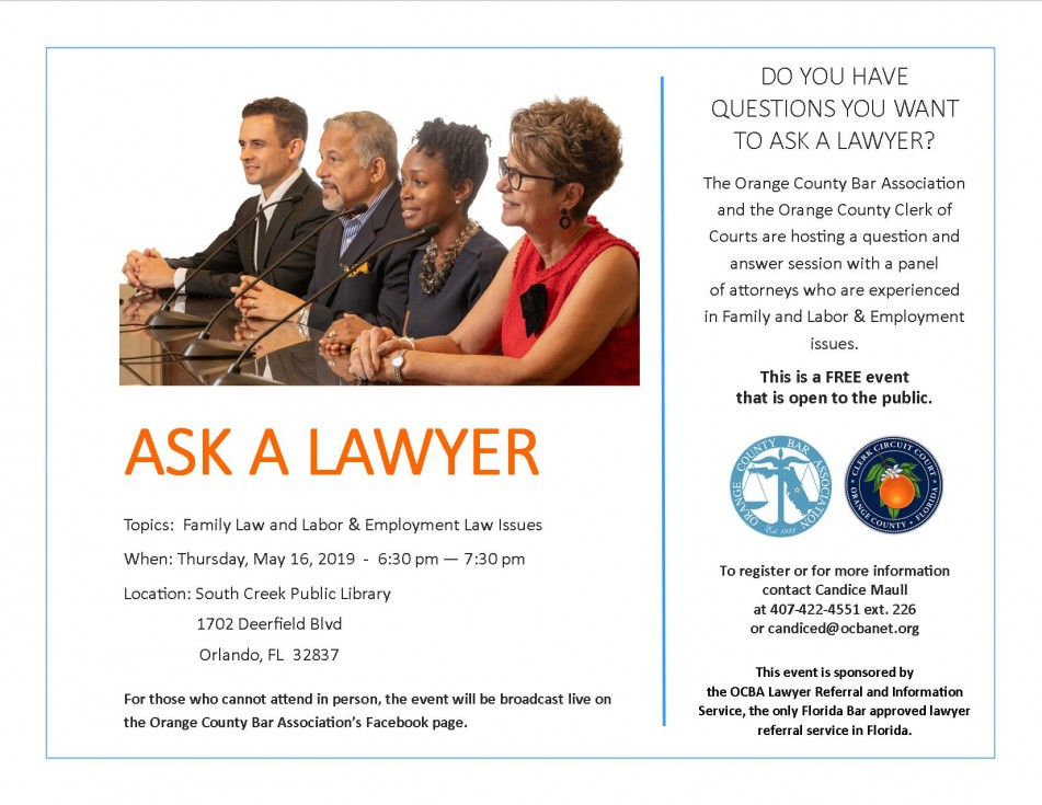 "The Orange County Bar Association and the Orange County Clerk of Courts To Host ""Ask a Lawyer"" Event"
