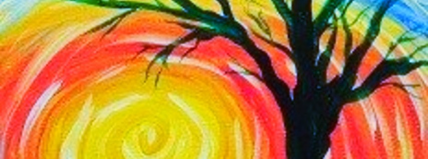 "Kids Paint Class – ""Tree at Sunset"""