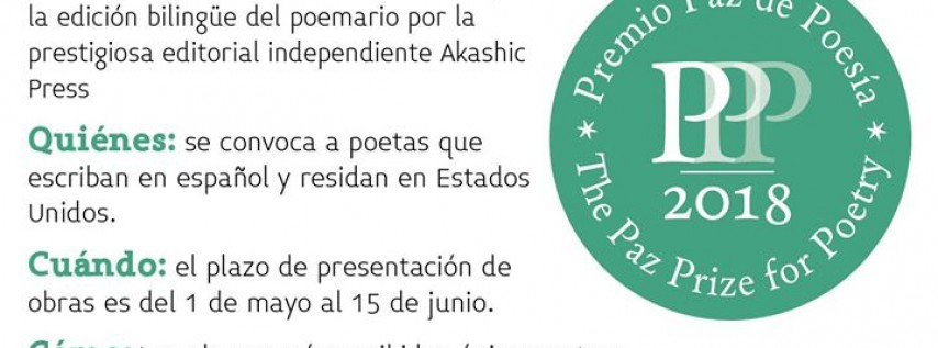 Convocatoria Premio Paz de Poesía 2018
