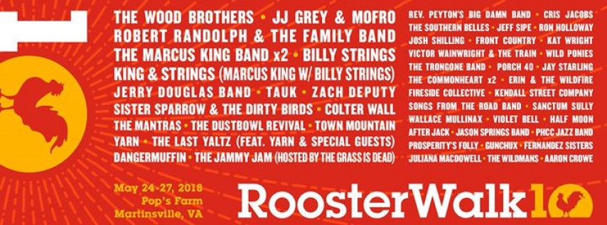 Rooster Walk 10 Music & Arts Festival (May 24-27, 2018)