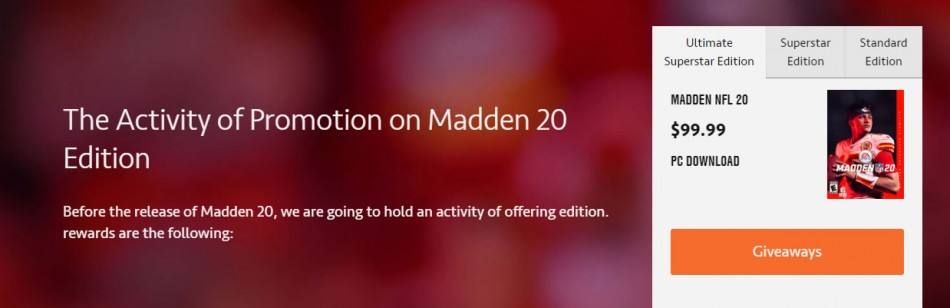 The Activity of Promotion on Madden 20 Edition