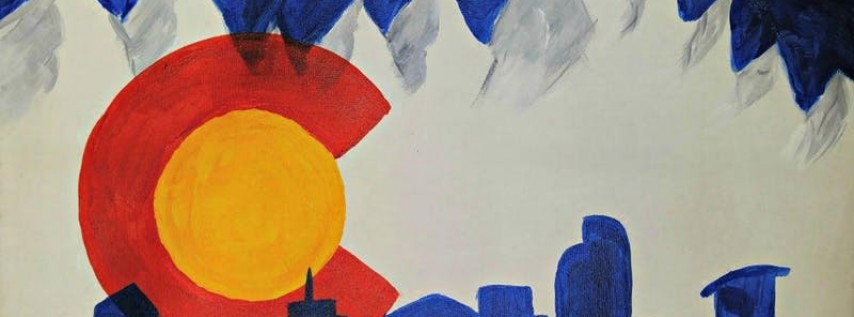 Paint Wine Denver Colorado Flag with Skyline Sun June 17th 5:30pm $25