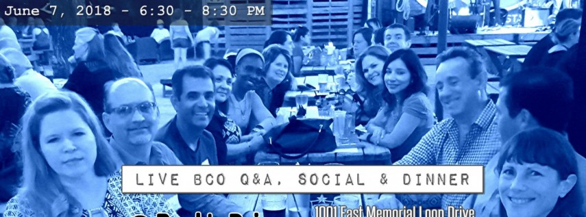 Live BCO Q&A, social and dinner