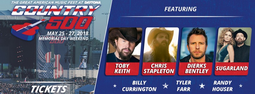 Country 500 Festival 2020 Country 500 Music Festival, Daytona Beach FL   May 25, 2018   3:00 PM