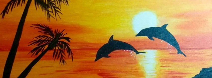 Wine & Canvas Painting Class: Dolphin Sunset
