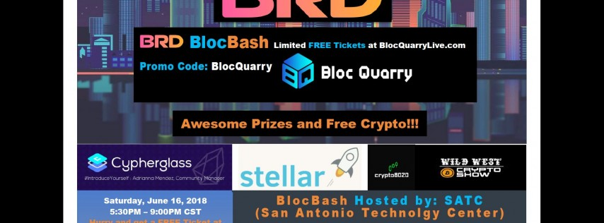 BRD Wallet BlocBash - FREE Saturday Night Blockchain Event - HURRY LIMITED SPOTS