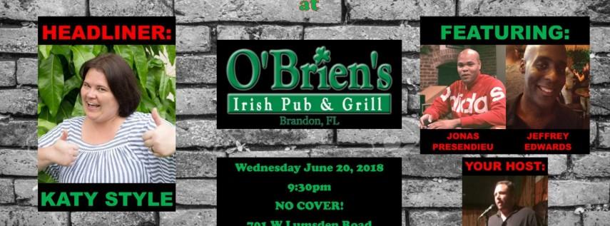 Wednesday Night Comedy at O\'Brien\'s Irish Pub Brandon, Tampa FL ...