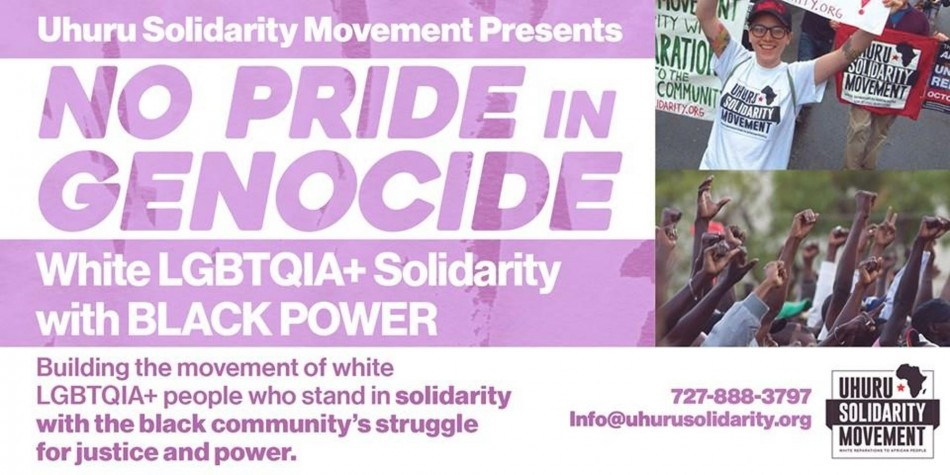 No Pride in Genocide! White LGBTQIA solidarity with Black Power!