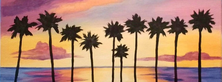 Wine & Canvas Painting Class: La Jolla Palms