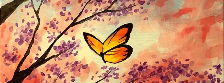 Wine & Canvas Painting Class: Butterfly Flowers