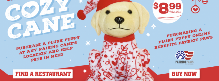Operation Kindness Partners with Raising Cane's for Plush Puppy Holiday Donation