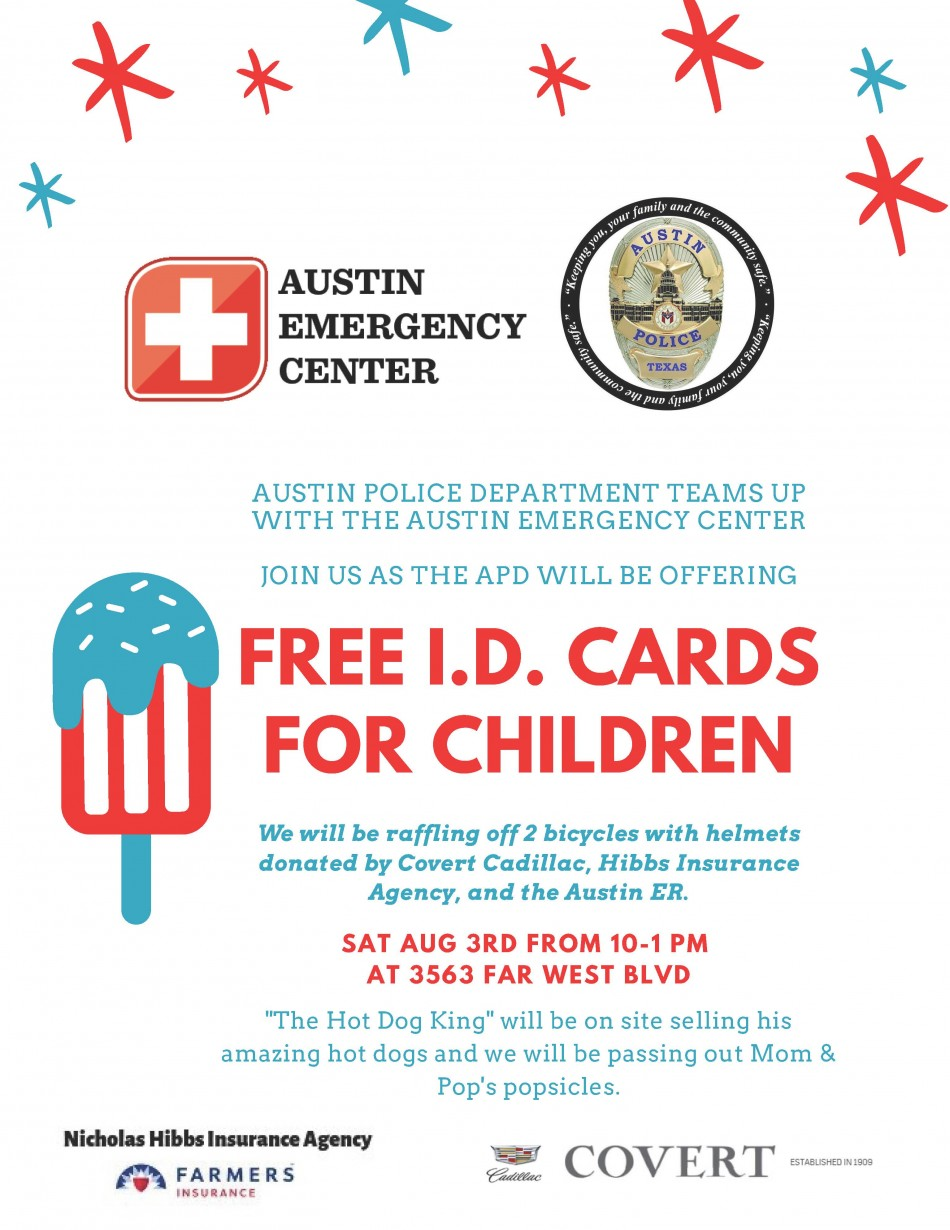 Austin Police Department Child I.D. Safety Event with Austin ER, Hibbs Insurance Agency & Covert Cadillac