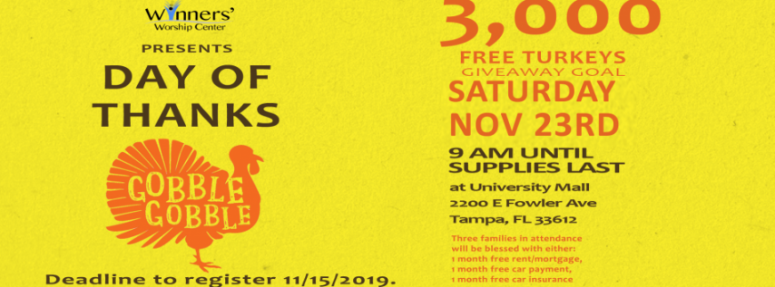 Day of Thanks 2019 - Turkey Giveaway