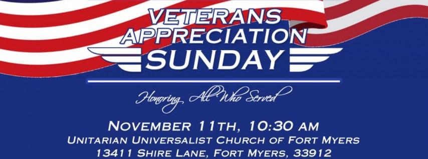 Veterans Appreciation Sunday -- All are Welcome!