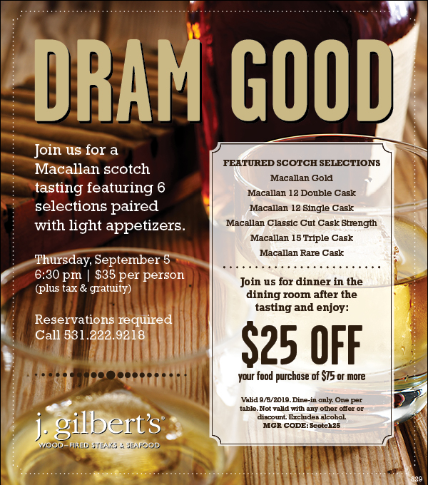 Scotch Tasting Featuring Macallan Scotch at J. Gilbert's Wood-Fired Steaks & Seafood