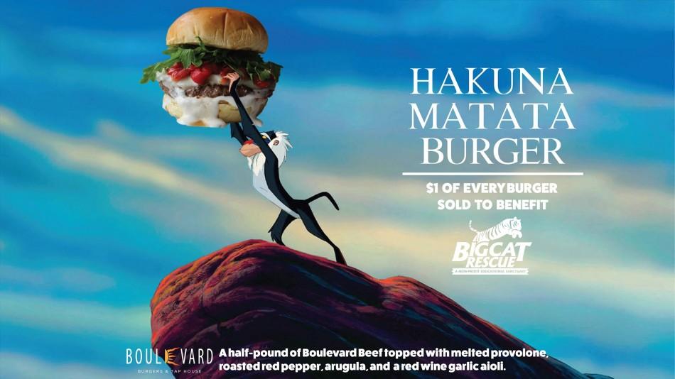 The Hakuna Matata Burger at Boulevard Burgers