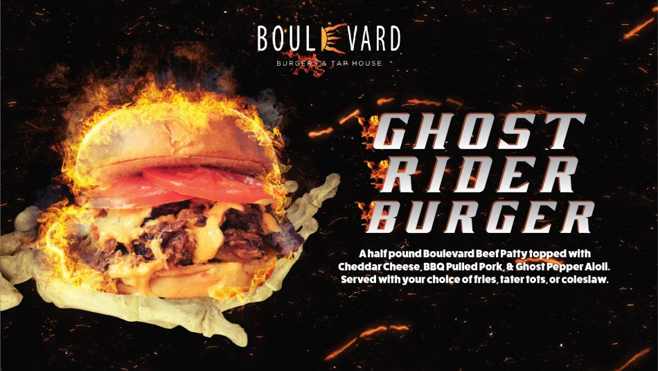 Ghost Rider Burger at Boulevard Burgers & Tap House