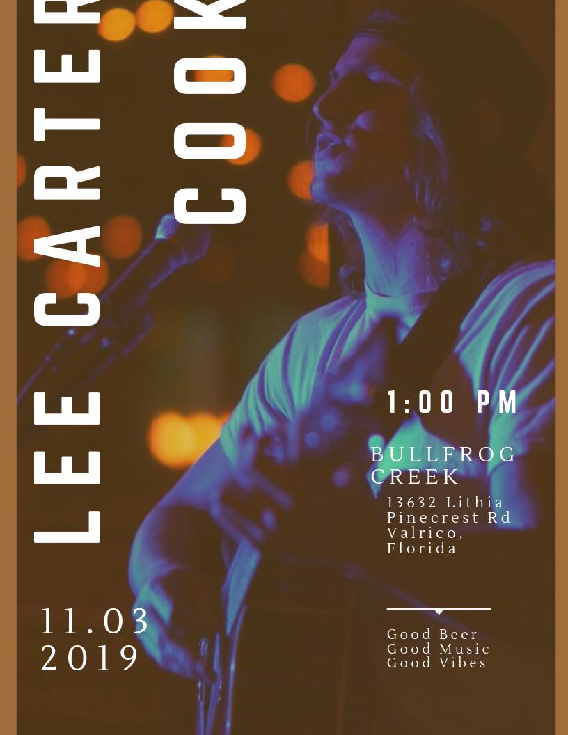 Lee Carter Cook LIVE at Bullfrog Creek Brewing Co.