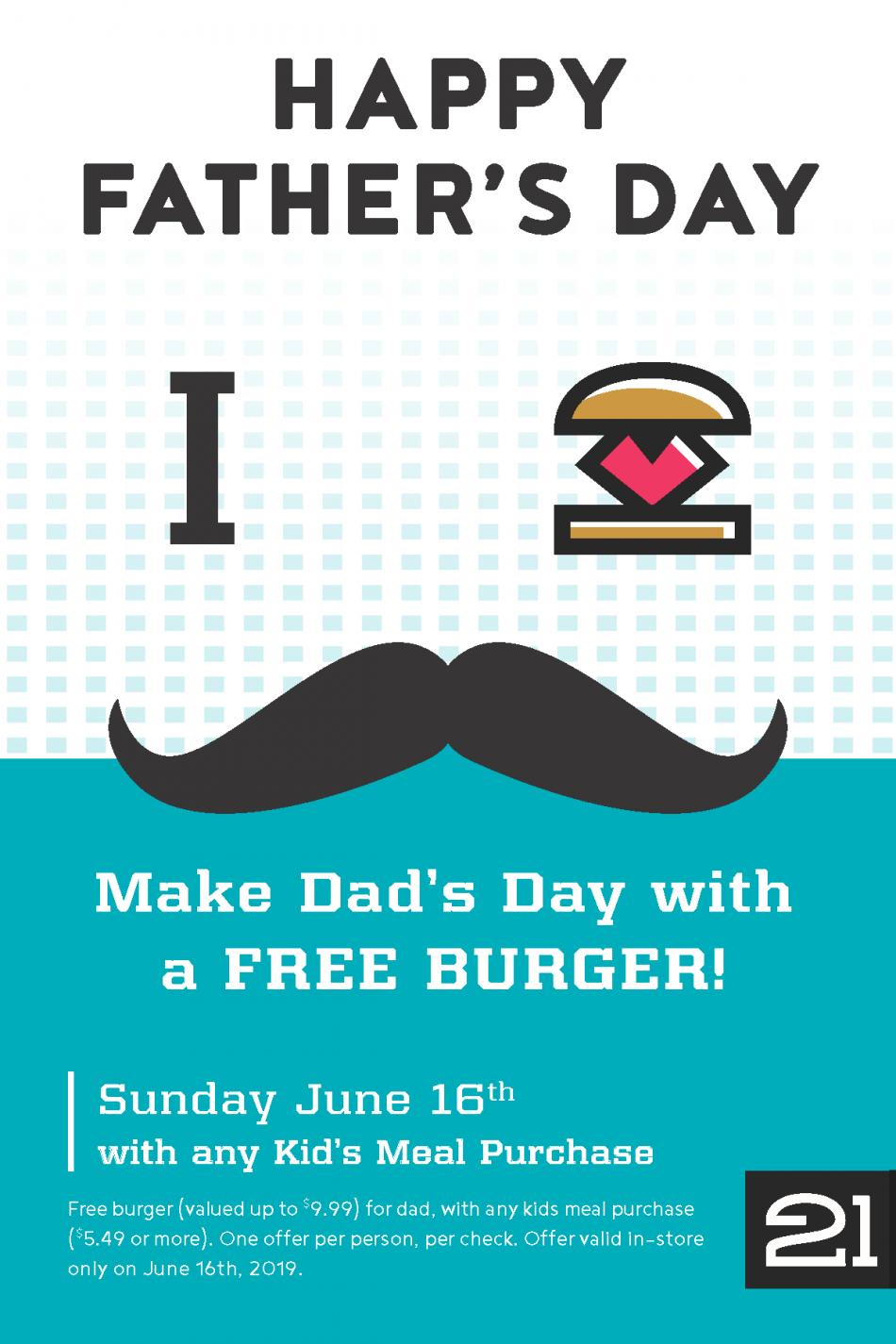 Free Burger for Dad at Burger 21