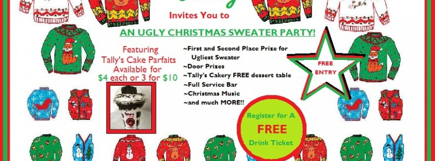 Ugly Christmas Sweater Party sponsored by Tally's Cakery