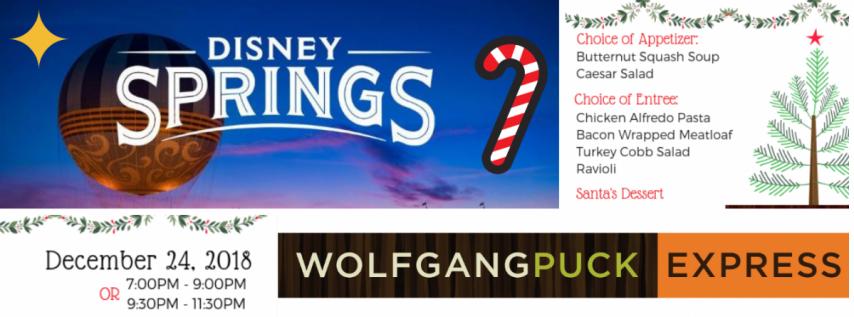 Christmas Eve Dinner at Wolfgang Puck Express inside Disney Springs